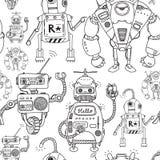 mönstrad seamless robotar stock illustrationer