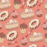 mönstrad seamless sötsaker Arkivbilder