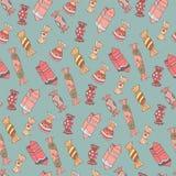 mönstrad seamless sötsaker Arkivbild