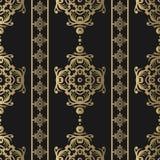 mönstrad seamless tappning Blom- utsmyckad tapet Damast bakgrund för mörk vektor med dekorativa prydnader och blommor i barock royaltyfri illustrationer