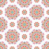 mönstrad seamless tappning ljust blom- för bakgrund Stor knopp för kalejdoskop Arkivbild