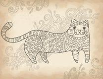 Mönstrad stylized katt Royaltyfria Bilder