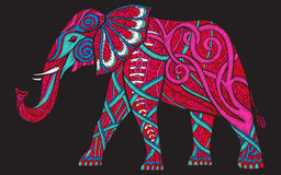 Mönstrad utsmyckad elefant för broderiperson som tillhör en etnisk minoritet royaltyfri illustrationer
