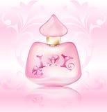 Mönstrade den rosa advertizingflaskan för doft med en hjärta och den blom- prydnaden på en tappning bakgrund stock illustrationer