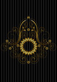Mönstrade det guld- cirkuläret för tappning ramen med den openwork blom- modellen Fotografering för Bildbyråer