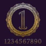 Mönstrade guld- nummer med tappningmästerskapmedaljen royaltyfri illustrationer