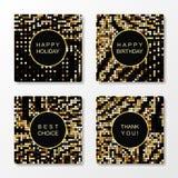 Mönstrade hälsningkort för guld- mosaik Royaltyfri Fotografi