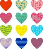 mönstrade hjärtor vektor illustrationer