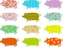 mönstrade pigs royaltyfri illustrationer