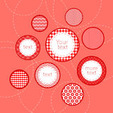 Mönstrade rött och vit cirklar geometrisk infograp Fotografering för Bildbyråer