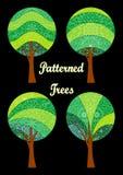 Mönstrade träd, uppsättning Arkivbilder
