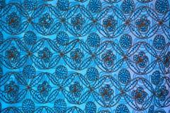 Mönstrade tyg-blått Arkivfoto