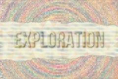 Mönstrar begreppsmässiga ord för utforskning, för lopp & för ferie med abstrakt överlappande form som bakgrund stock illustrationer