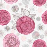 Mönstrar blom- seamless för klotter Royaltyfri Illustrationer