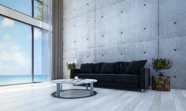 Mönstrar designen och betongväggen för vardagsrumkorridor- och soffavardagsruminre bakgrunds- och havssikt Royaltyfria Foton