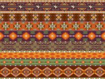 Mönstrar färgrika seamless för Aztecs med fågeln Fotografering för Bildbyråer
