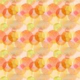 Mönstrar olika former för abstrakta härliga konstnärliga mjuka underbara genomskinliga ljusa för höst cirklar för orange guling r Fotografering för Bildbyråer