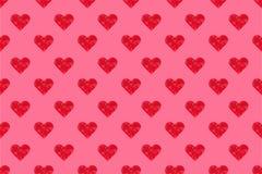 Mönstrar rosa hjärtor för polygon sömlöst på rosa bakgrund Fotografering för Bildbyråer