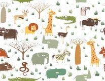 Mönstrar Seamless afrikanska djur för Grunge stock illustrationer