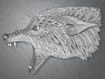 Mönstrat huvud av vargen Stam- etnisk totem, tatueringdesign Arkivbilder