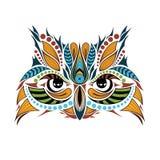 Mönstrat kulört huvud av ugglan Afrikan-/indier-/totem-/tatueringdesign Royaltyfri Foto