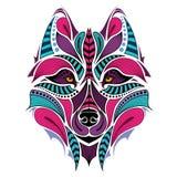 Mönstrat kulört huvud av vargen Afrikan-/indier-/totem-/tatueringdesign Royaltyfri Fotografi