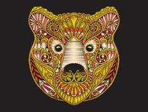 Mönstrat utsmyckat huvud för broderiperson som tillhör en etnisk minoritet av brunbjörnen royaltyfri illustrationer