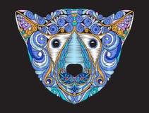 Mönstrat utsmyckat huvud för broderiperson som tillhör en etnisk minoritet av isbjörnen vektor illustrationer