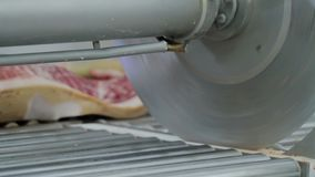 Mörda urskillningslöst Cutting Pork Meat i nya rå fläskkotletter för köttfabrik i köttfabrik arkivfilmer