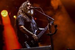 Mörder, Tom Araya-Livekonzert 2017 Heavy Metal Lizenzfreie Stockfotografie
