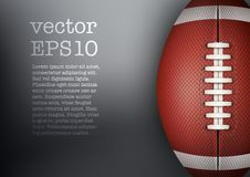 Mörk bakgrund av bollen för amerikansk fotboll vektor Royaltyfri Fotografi