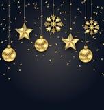 Mörk bakgrund för jul med guld- bollar, stjärnor och snöflingor royaltyfri illustrationer