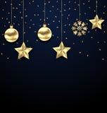Mörk bakgrund för jul med guld- struntsaker som hälsar banret vektor illustrationer