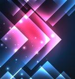 Mörk bakgrundsdesign med fyrkanter och skinande glödande effekter vektor illustrationer