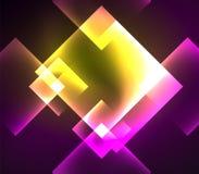 Mörk bakgrundsdesign med fyrkanter och skinande glödande effekter stock illustrationer
