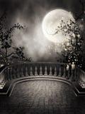 Mörk balkong med stearinljus Royaltyfri Foto