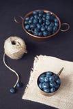 Mörk bild för blåbär Nya frukter, bär i en gammal kopparkopp Mörker utformat materielfoto, svart bakgrund royaltyfria bilder