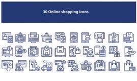 Mörk - blåa online-shoppa symboler - vektor för vektor vektor illustrationer