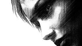 Mörk blick för kvinna royaltyfri illustrationer