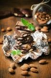 Mörk choklad med muttrar, mintkaramellsidor, mandlar Arkivbild