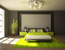 mörk designinterior för sovrum Arkivfoto