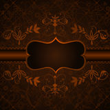 mörk elegant blom- etiketttappning Royaltyfri Fotografi
