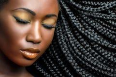 Mörk flickaskönhetstående med flätade trådar fotografering för bildbyråer