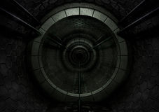 mörk futuristic tunnel Arkivbilder