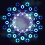 Mörk futuristisk rund ram med kosmiska cirklar för blått neon och textutrymme Fotografering för Bildbyråer