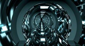 Mörk futuristisk tolkning för rymdskeppkorridor 3D Arkivbilder
