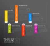 Mörk horisontalmall för Infographic timelinerapport Arkivfoton