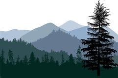 Mörk illustration med bergskogen Arkivbild