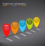 Mörk Infographic timeline, färgrika bubblor royaltyfri illustrationer