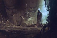 Mörk kappa i mystisk skog stock illustrationer